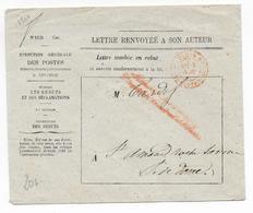 1866 - ENVELOPPE De LETTRE TOMBEE En REBUT Et RENVOYEE à Son AUTEUR De PARIS => ST AMAND ROCHE SAVINE - Postmark Collection (Covers)