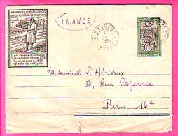 MADAGASCAR -  LETTRE ENTIER POSTAL VOYAGEE DEPART MAJUNGA POUR PARIS AU VERSO CACHET CIRE HM - Madagascar (1889-1960)