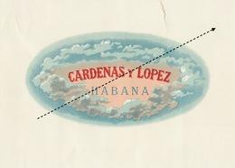 1893-1894 Grande étiquette Boite à Cigare Havane CARDENA Y LOPEZ - Etiquettes
