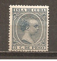 Cuba - Edifil 149 - Yvert 92 (MH/(*)) (sin Goma) - Kuba (1874-1898)