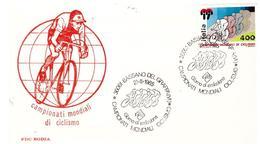 Fdc Rodia: MONDIALI DI CICLISMO  (1985); No Viaggiata; AS - 6. 1946-.. Repubblica