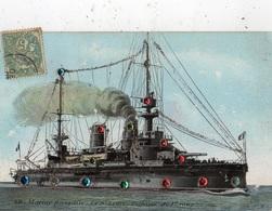 MARINE FRANCAISE LE SAINT-LOUIS CUIRASSE DE 1 ER RANG  (CARTE COLORISEE ET PAILLETEE) - Warships