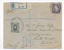 1929 - IRLANDE - DEVANT De LETTRE RECOMMANDEE De DUBLIN => INDIA - 1922-37 Stato Libero D'Irlanda
