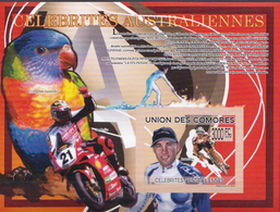Comores MNH Famous Australians, Brett Aitken Imperforated SS - Ciclismo