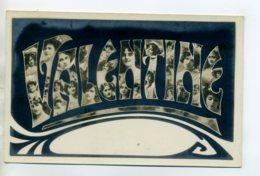 Prénom 001 VALENTINE Avec Visages De Femmes Art Nouveau 1905 Aspect Carte Photo - Firstnames