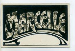 Prénom 007 MARCELLE Avec Visages De Femmes Art Nouveau 1905 Aspect Carte Photo - Firstnames