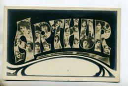 Prénom 013 ARTHUR Avec  Visages De Femmes Art Nouveau 1905 Aspect Carte Photo - Prénoms