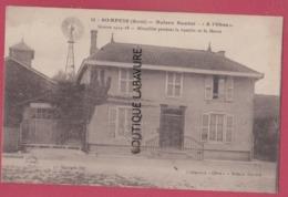 51 - SOMPUIS---Maison Baudot--A ' L'Obus ' Mitraillée Pendant La Bataille De La Marne--Pas Courante--Eolienne A Gauche.. - Autres Communes