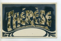 Prénom 021 THERESE Avec  Visages De Femmes Art Nouveau 1905 Aspect Carte Photo - Firstnames