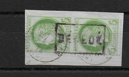 """1874 - CACHET """"DECEDE"""" Sur PAIRE CERES OBLITEREE Sur FRAGMENT - Storia Postale (Francobolli Sciolti)"""