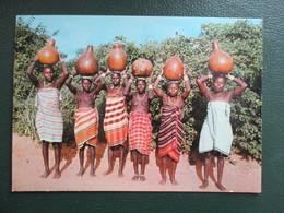 CPA AFRIQUE KENYA FEMMES GIRIMA AVEC LEURS CRUCHES D'EAU FEMMES SEINS NUS - Kenya
