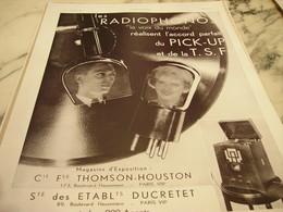 ANCIENNE PUBLICITE RECEPTEUR DE TSF RADIOPHONO LA VOIX DU MONDE 1932 - Affiches