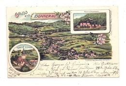 NIEDER - SCHLESIEN - WÜSTEGIERSDORF - DONNERAU / GLUSZYCA, Lithographie, Kirche, Hornschlossbaude, Panorama - Schlesien