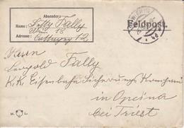 Feldpostbrief Wien Nach K.k. Eisenbahn Sicherungs Kompagnie Opcina Bei Triest - 1917 (38581) - Briefe U. Dokumente