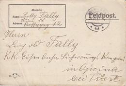 Feldpostbrief Wien Nach K.k. Eisenbahn Sicherungs Kompagnie Opcina Bei Triest - 1917 (38582) - Briefe U. Dokumente