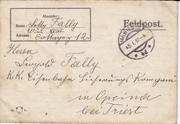Feldpostbrief Wien Nach K.k. Eisenbahn Sicherungs Kompagnie Opcina Bei Triest - 1917 (38583) - Briefe U. Dokumente
