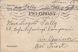 Feldpostbrief Wien Nach K.k. Eisenbahn Sicherungs Kompagnie Opcina Bei Triest - 1916 (38584) - 1850-1918 Imperium