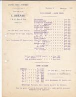 FACTURE TARIF-- 33---BORDEAUX    L. BREARD  11 & 13 Rue Du Port---cafés-thés-poivres--prix-courant 1921 - Frankrijk