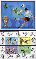 Championat 1982 Libya 990/3+Block 61 B ** 22€ Fußball-WM Spieler Hb Voetball Ss Bloc Sheet M/s FIFA Football Soccer - Libye