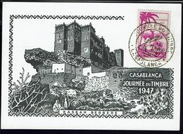 "MAROC - Carte Postale Illustrée ""Kasbah Berbère"" Journée Du Timbre - Cachet Casablanca 15 Mars 1947 - B/TB - - Morocco (1891-1956)"