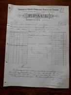 Ancienne Facture. Fabrique De Papiers D'emballages. P.Paul. Mirecourt (Vosges). 1894 - Agriculture
