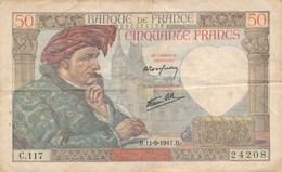 Billet De La Banque De FRANCE 50 Francs  1941 Jacques Coeur Bourges - 1871-1952 Anciens Francs Circulés Au XXème
