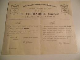 LIMOGES, Fabrique De Parapluies Et Ombrelles , E. Ferradou, Vers 1900, Feuillet Publicitaire - Reclame