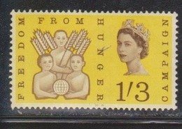 GREAT BRITAIN Scott # 391 MNH - Freedom From Hunger - Corner Crease - Unused Stamps