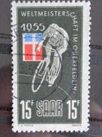SARRE 1955 Y&T N° 339 OB - CHAMPIONNAT DU MONDE DE CYCLO CROSS A QUERFELDEIN - Usati