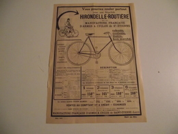 CYCLES, Hirondelle Routiere ,  Feuillet Publicitaire - Advertising