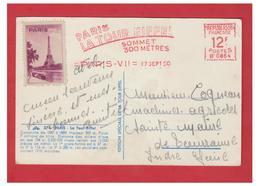 FRANCE -- TOUR EIFFEL -- AFFARNCHISSEMENT MECANIQUE -- 1950 -- + VIGNETTE-- CP AVEC PLI D'ANGLE-- - Poststempel (Briefe)