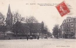 Carte 1910 NANTES / PLACE DE LA REPUBLIQUE BOULEVARD .. ET EGLISE DE LA MADELEINE - Nantes