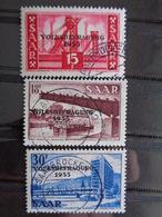 SARRE 1955 Y&T N° 344 à 346 OB - REFERENDUM POPULAIRE, TIMBRES SURCHARGES - 1947-56 Ocupación Aliada
