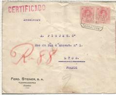 TARRAGONA 1923 CC CERTIFICADA A LYON CIERRE TEMA VINOS WINE VILLAFRANCA DEL PANADES FERD STEINER SA - 1889-1931 Reino: Alfonso XIII