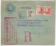 BARCELONA 1931 CC CERTIFICADA A USA SELLOS VAQUER AL DORSO LLEGADAS Y TRANSITOS - 1889-1931 Reino: Alfonso XIII