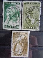 SARRE 1955 Y&T N° 347 à 349 OB - AU PROFIT DES OEUVRES POPULAIRES, TABLEAUX DE DURER - 1947-56 Gealieerde Bezetting