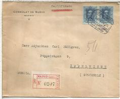 MADRID CC CERTIFICADA A SUECIA SELLOS VAQUER MAT SECCION NOCTURNA CIERRE LACRE CONSULTAR DE SUEDE SWEDEN - 1889-1931 Reino: Alfonso XIII