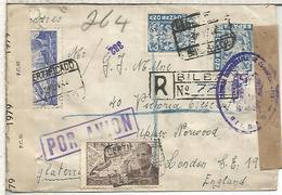 BILBAO VIZCAYA CC CERTIFICADA A LONDON 1944 CENSURA DE BILBAO, MADRID Y BRITANICA MAT SELLOS AÑO SANTO LACIERVA - 1931-50 Lettres