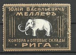 LATVIA Lettland J. V. MÖLLER RIGA Reklamemarke Advertising Poster Stamp Elephant * - Cinderellas