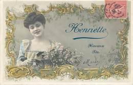 CPA CDV Heureuse Fête Prénom Henriette 17 Juillet Femme Panier Fleurs 1906 Jeune Fille - Holidays & Celebrations