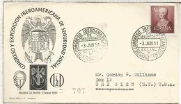 MADRID 1951 CC CERTIFICADA CONGRESO IBEROAMERICANO DE SEGURIDAD SOCIAL A USA - 1931-Hoy: 2ª República - ... Juan Carlos I