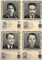 LOT 4 CARTES 1er JOUR DES HEROS DE LA RESISTANCE N° 1157 à 1160 * 19 AVRIL 1958 * BINGEN*SCAMARONI*CAVAILLES*MICHEL LEVY - War 1939-45