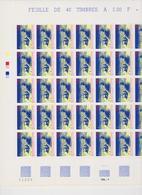 FRANCE 1 Feuille Compléte 40 T 3041 - Vendu Sous Valeur Faciale - 1996 - Bibliothéque Nationale De France - Ganze Bögen