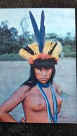 CPSM NU JEUNE FEMME NUE SEINS NUS BRASIL NATIVO CEREMONIAL YAMARICUMAI XINGU INDIENNE PHOTO JESCO PLUMES - Brasil