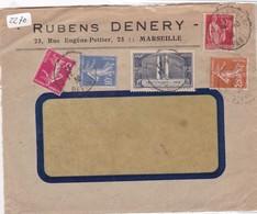 RUBENS DENERY, MARSEILLE. FRONT DE COMMERCIAL ENVELOPPE CIRCULEE 1936 MIXED STAMPS- BLEUP - Frankrijk