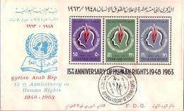 1963 Syria Human Rights Souvenir Sheets F.D.C - Syrië