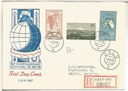 NORUEGA NORGE CC CERTIFICADA AÑO GEOFISICO INTERNACIONAL IGY 1957 - Año Geofísico Internacional