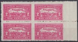 LOC-81 CUBA REPUBLICA. 1903. LOCAL REVENUE MATANZAS. 2c PERFORATED BLOCK 4. ORIGINAL GUM. - Timbres-taxe