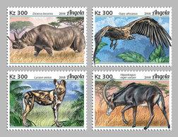 ANGOLA 2018 - Rhinoceros, Endangered Sp., 4v. Official Issue - Rhinozerosse