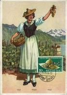 Schweiz Helvetia 1955 - Waadtländer Trachtenhut - MiNr 608 MK - Kostüme